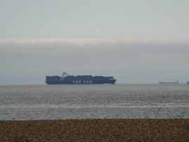 Container Ship approaching Portsmouth