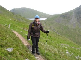 Sara on the path to Deepdale Hause