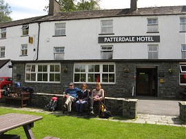 Sitting outside the Patterdale Hotel