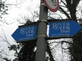 Sign post for the River Ver Trail